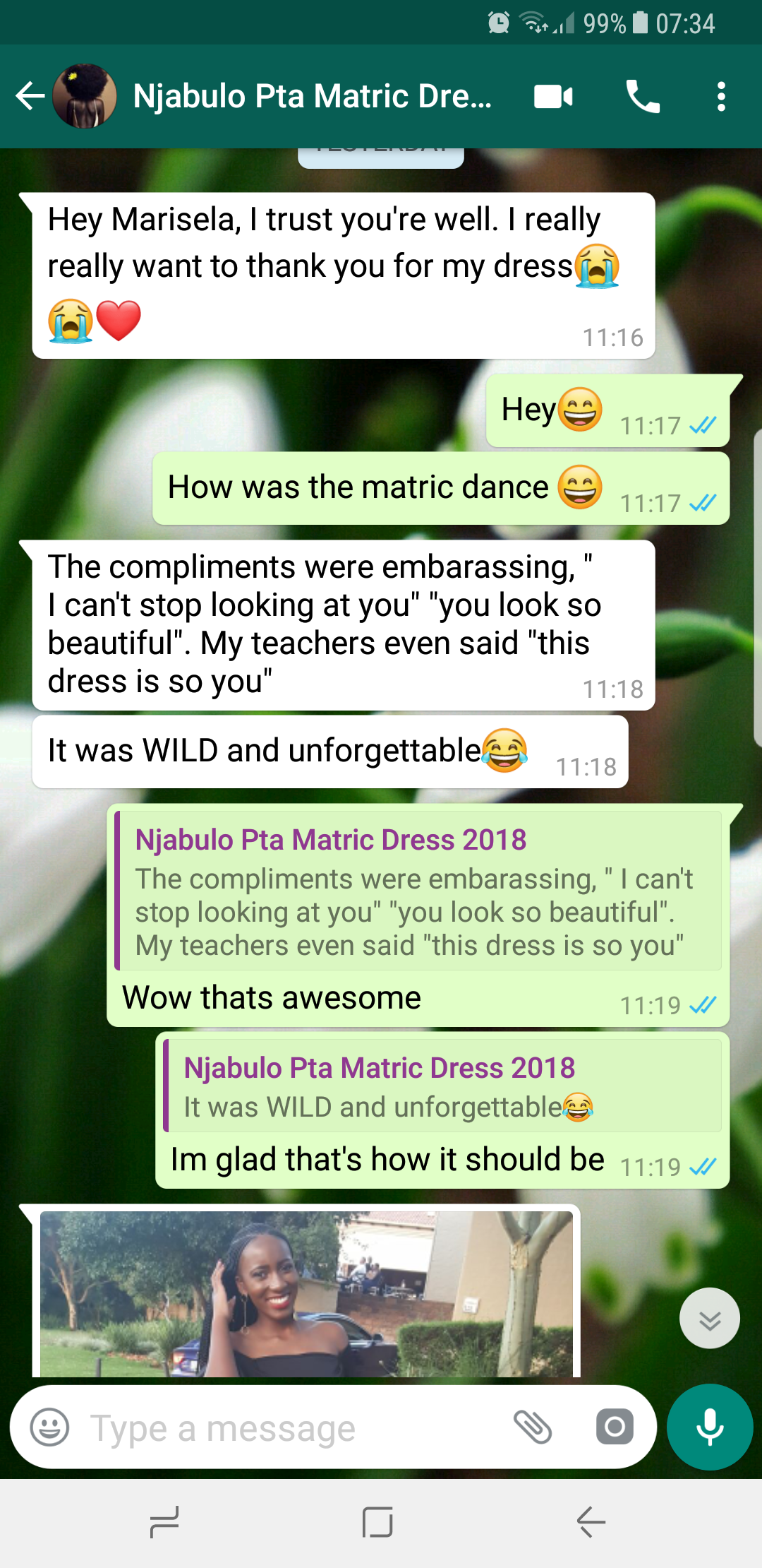 Njabulo's review of Marisela Veludo and the dress designed and made for her.
