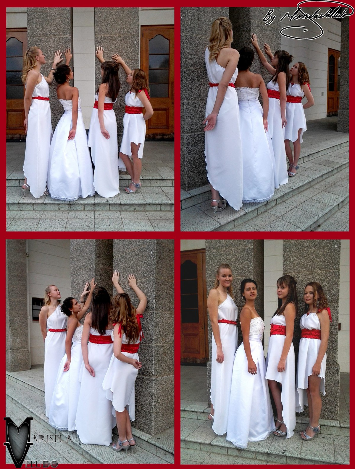 Angelic Memory by Marisela Veludo - Fashion Designer - A collection of white dresses with red detailing.